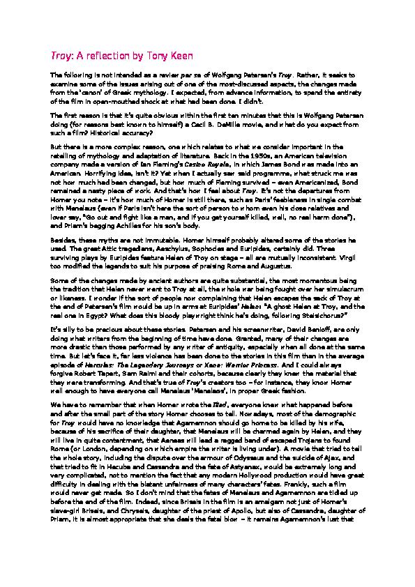 troy film analysis essays