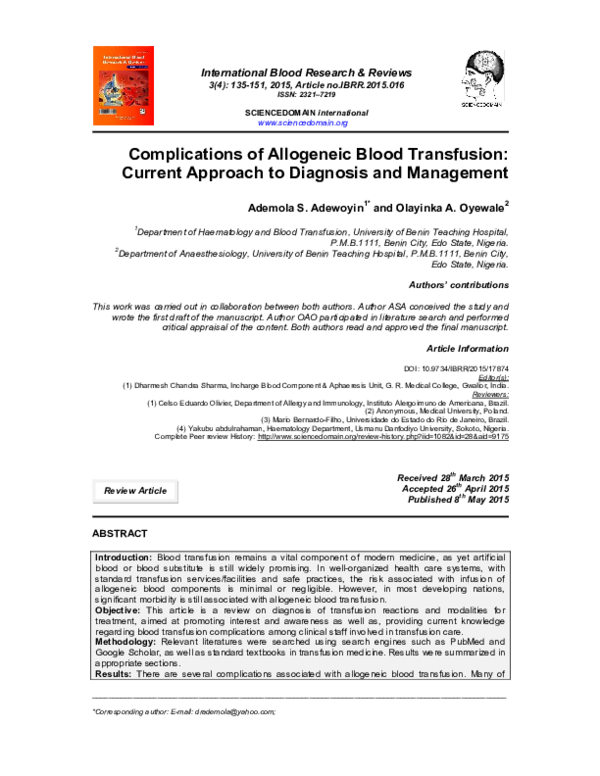 PDF) complicatns Blood Transfusn Published pdf | Ademola Adewoyin