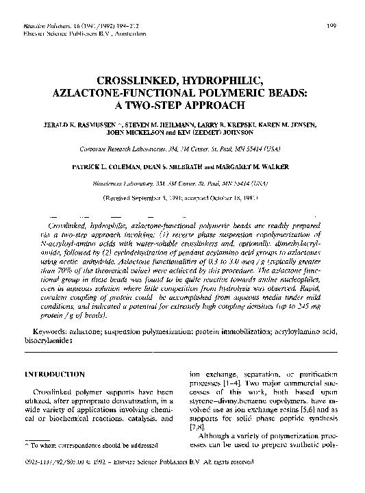 PDF) Crosslinked, hydrophilic, azlactone-functional