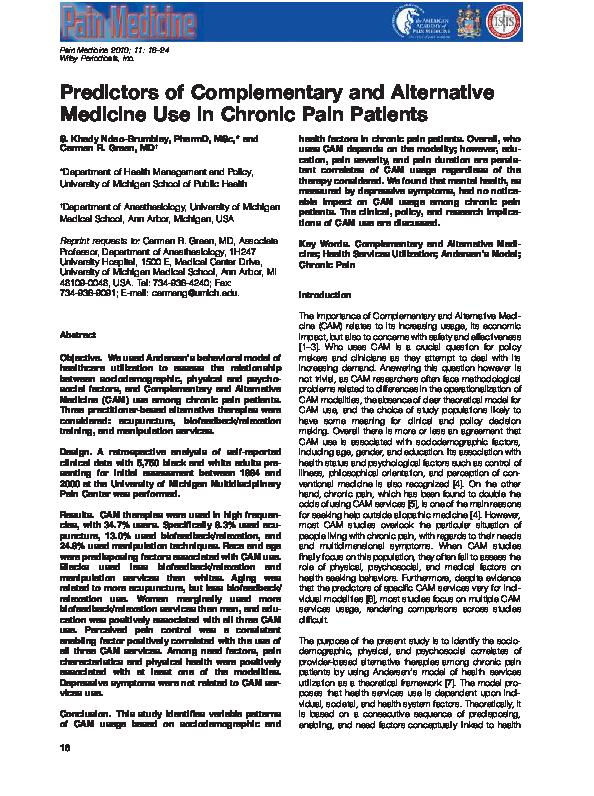PDF) Predictors of Complementary and Alternative Medicine