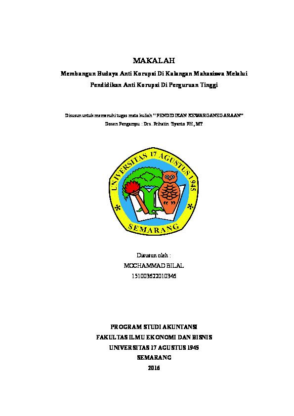 Doc Makalah Pendidikan Anti Korupsi Di Perguruan Tinggi Mochammad Bilal Academia Edu