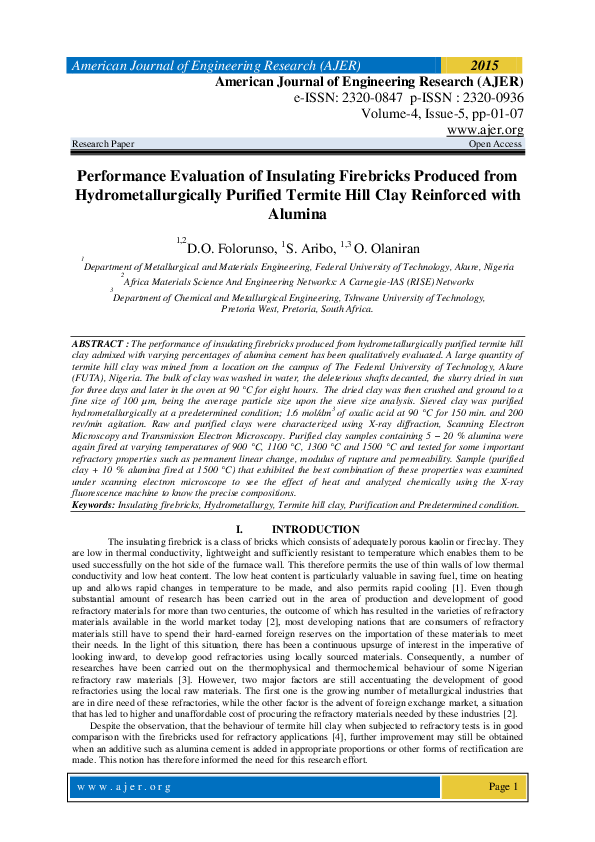 PDF) Performance Evaluation of Insulating Firebricks