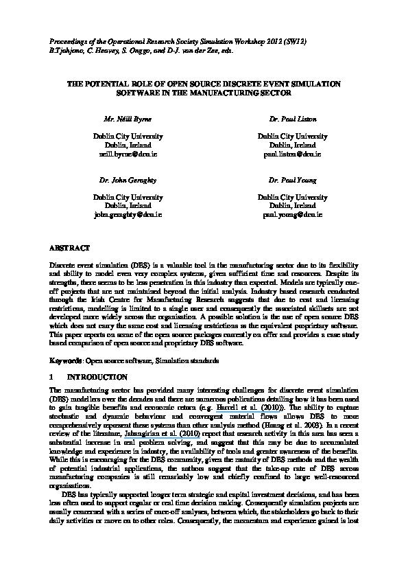 PDF) The Potential Role of Open Source Discrete Event