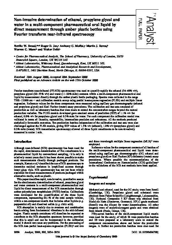 PDF) Non-invasive determination of ethanol, propylene glycol and
