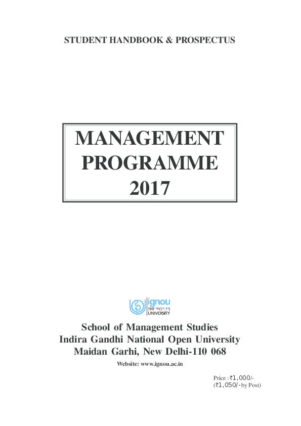 PDF) STUDENT HANDBOOK & PROSPECTUS MANAGEMENT PROGRAMME 2017
