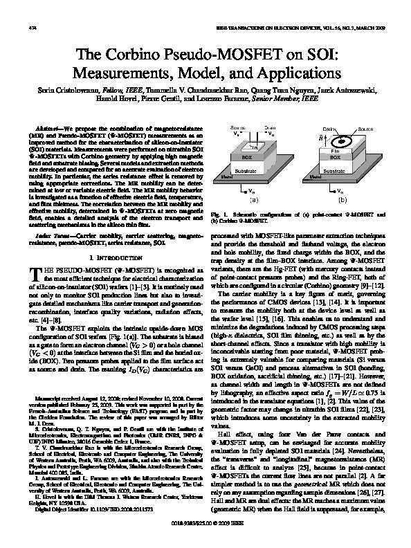 PDF) The Corbino Pseudo-MOSFET on SOI: Measurements, Model, and
