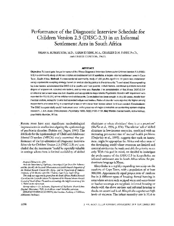 (PDF) Performance of the Diagnostic Interview Schedule for ...