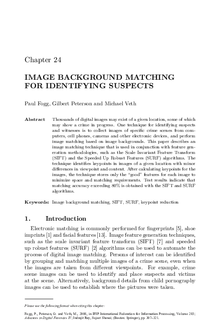 PDF) Image Background Matching for Identifying Suspects