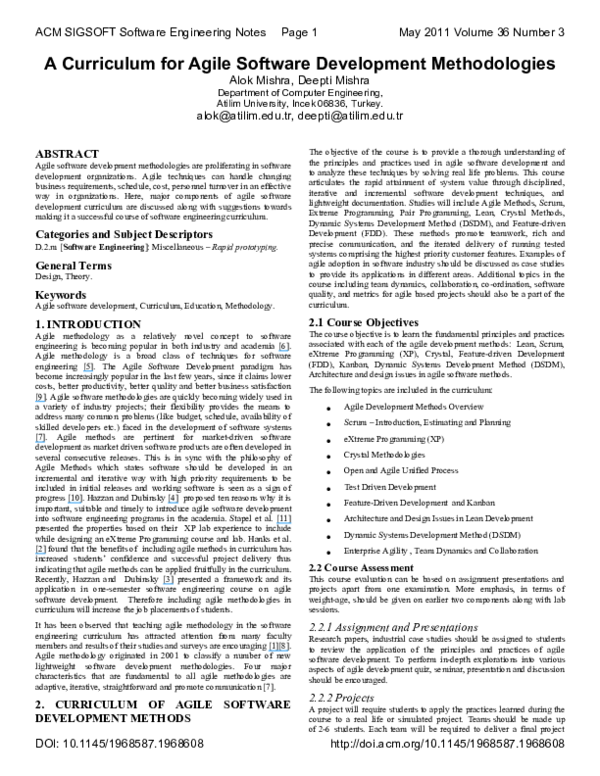 PDF) A curriculum for agile software development