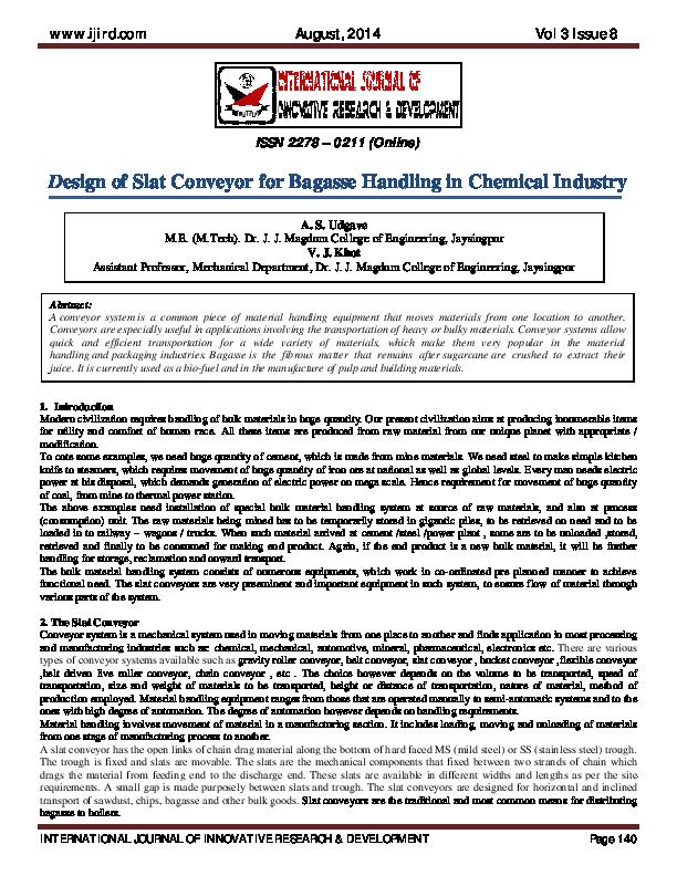 PDF) Design of Slat Conveyor for Bagasse Handling in Chemical ...