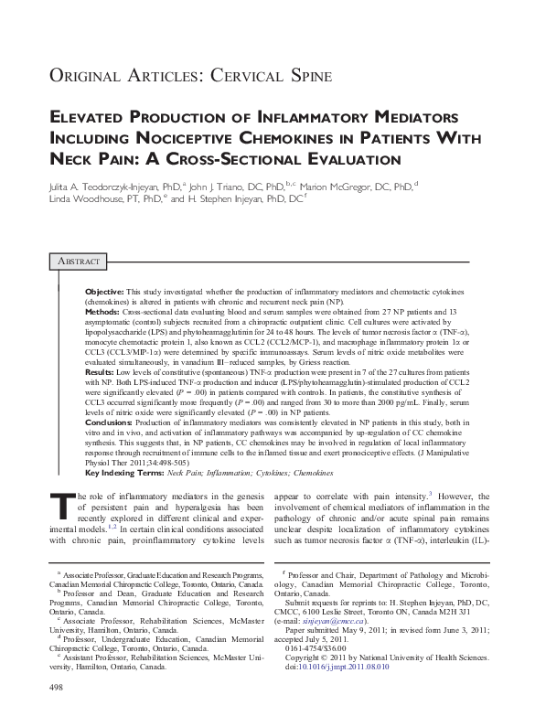PDF) Elevated Production of Inflammatory Mediators Including
