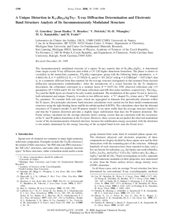PDF) A unique distortion in Kâ âBaââAgTeâ: X-ray diffraction