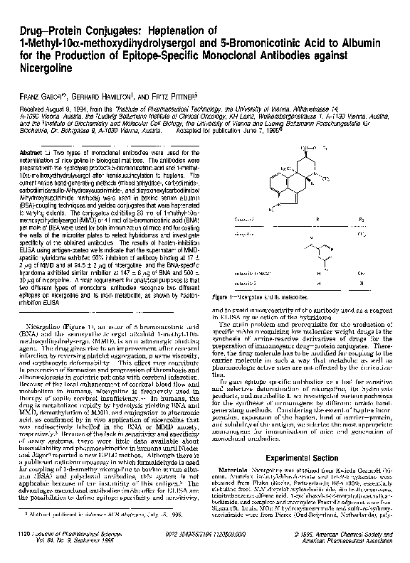 PDF Drug Protein Conjugates Haptenation Of 1 Methyl 10 Methoxydihydrolysergol And 5 Bromonicotinic Acid To Albumin For The Production