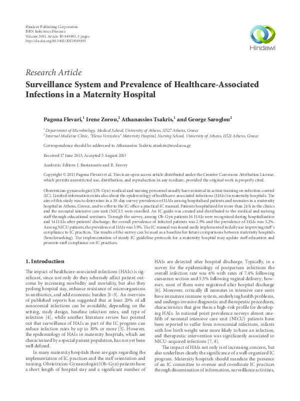 2f8902ff5 PDF) Surveillance System and Prevalence of Healthcare-Associated ...