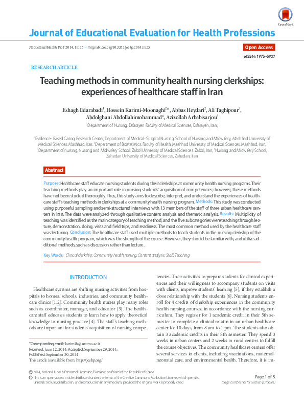 PDF) Teaching methods in community health nursing clerkships