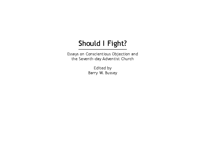 PDF) Should I Fight? Essays on Conscientious Objection and