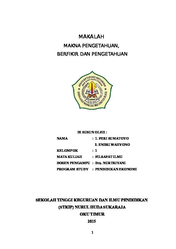 Doc Makalah Filsafat Ilmu Hendry Cover Academia Edu