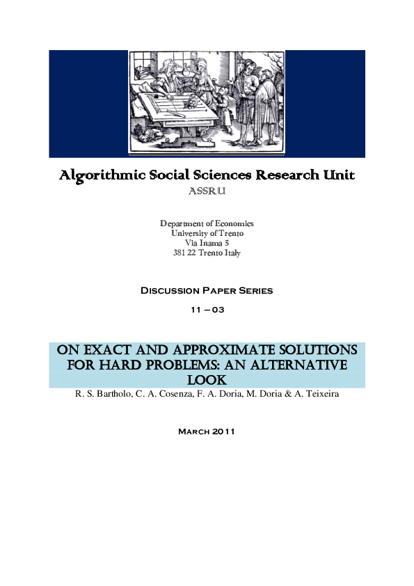 PDF) On Exact and Approximate Solutions for Hard Problems: An