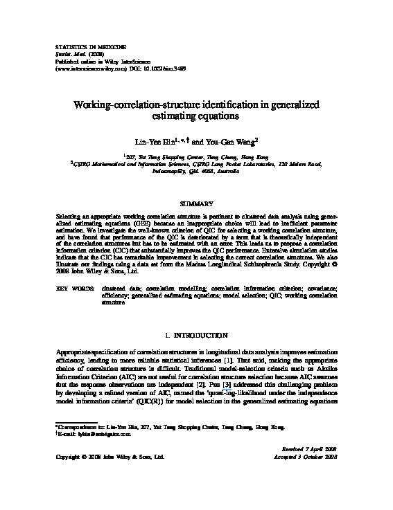 PDF) Working correlation structure misspecification