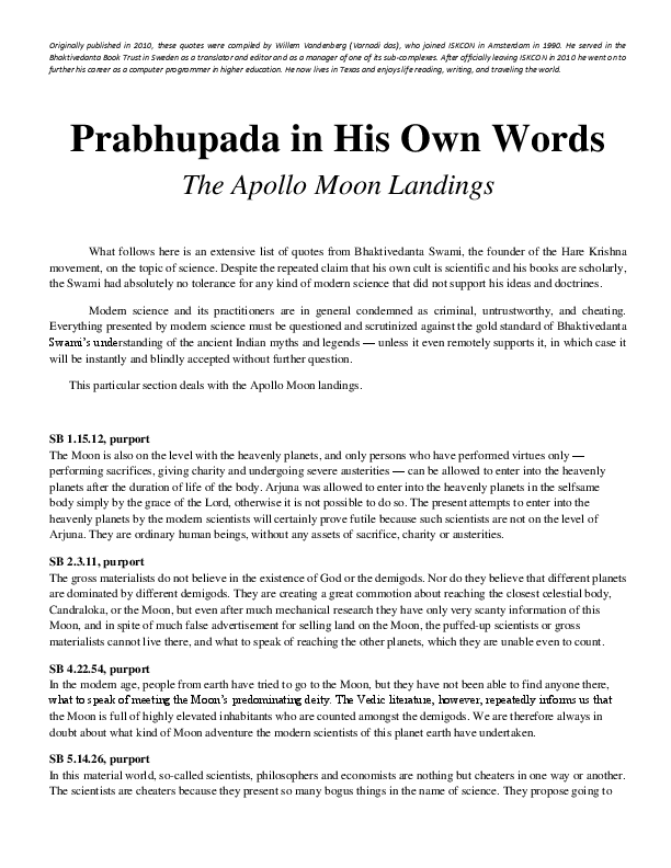 2aa632afb PDF) Prabhupada in His Own Words - The Apollo Moon Landings