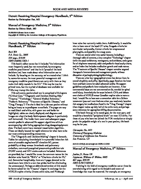 PDF) J L  Jenkins and G R  Braen, Manual of Emergency