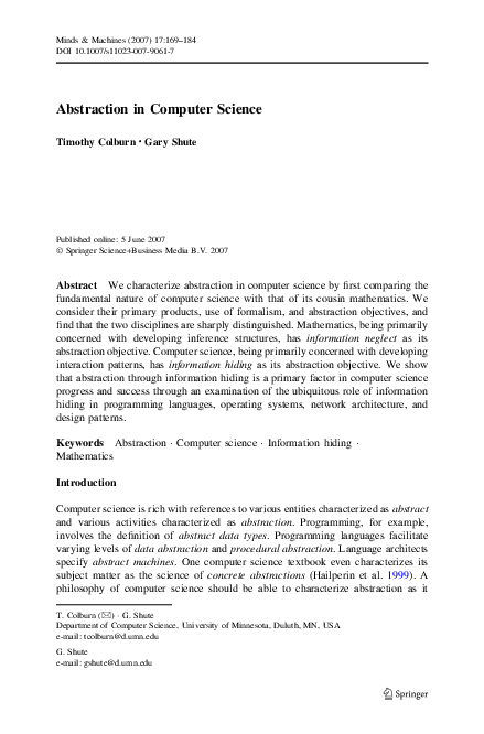 Pdf Abstraction In Computer Science Timothy Colburn