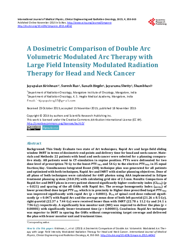 PDF) A Dosimetric Comparison of Double Arc Volumetric
