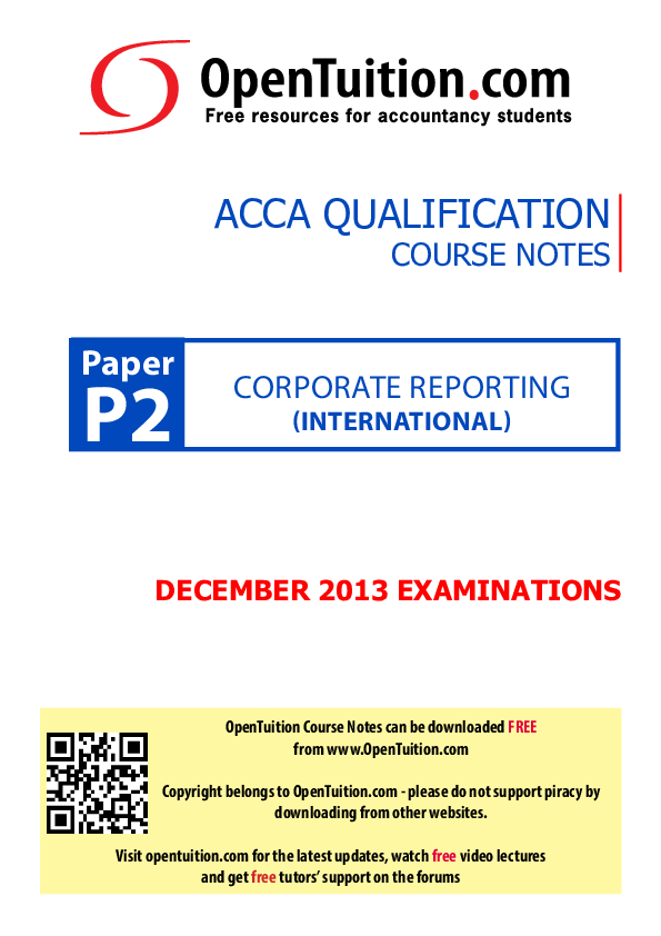 PDF) corporAte reporting ACCA QuAlifiCAtion Course notes | wc yeung