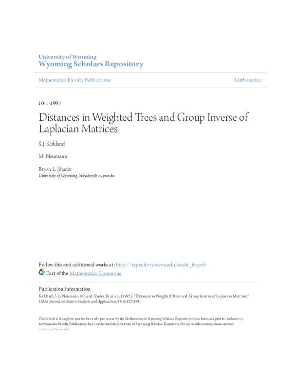 PDF) Distances in Weighted Trees and Group Inverse of