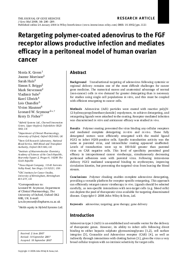 Scheme 1. HPMA copolymers and ACPPs used for adenovirus