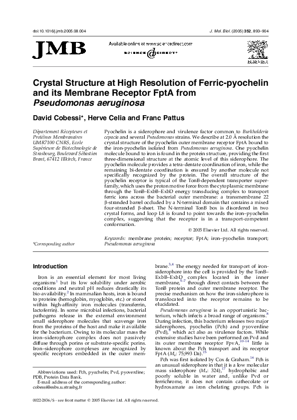 PDF) Crystal Structure at High Resolution of Ferric