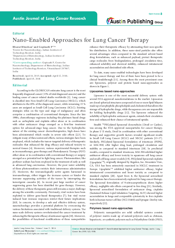 PDF) Nano-Enabled Approaches for Lung Cancer Therapy | Bharat
