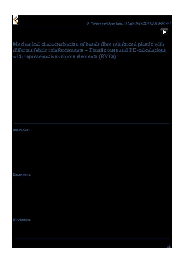 PDF) Mechanical characterization of basalt fibre reinforced plastic