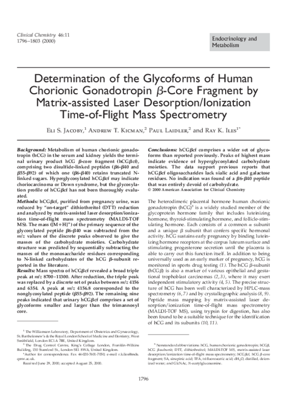 PDF) Determination of the Glycoforms of Human Chorionic Gonadotropin