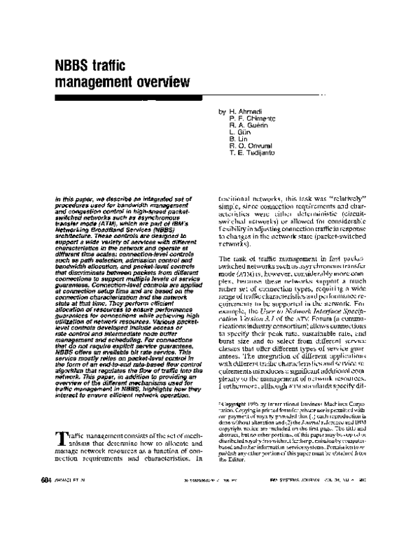 PDF) NBBS Traffic Management Overview   Hamid Ahmadi