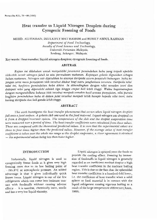 Pdf Heat Transfer To Liquid Nitrogen Droplets Duringcyrogenic