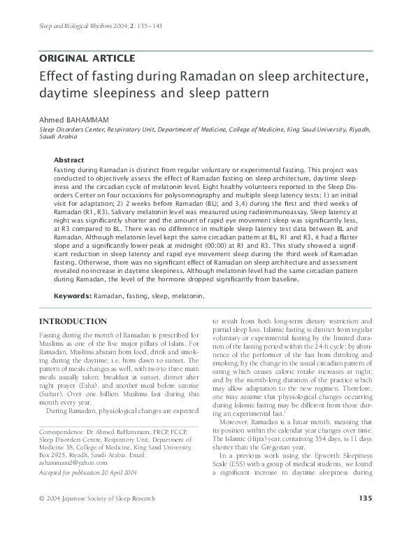 PDF) Effect of fasting during Ramadan on sleep architecture