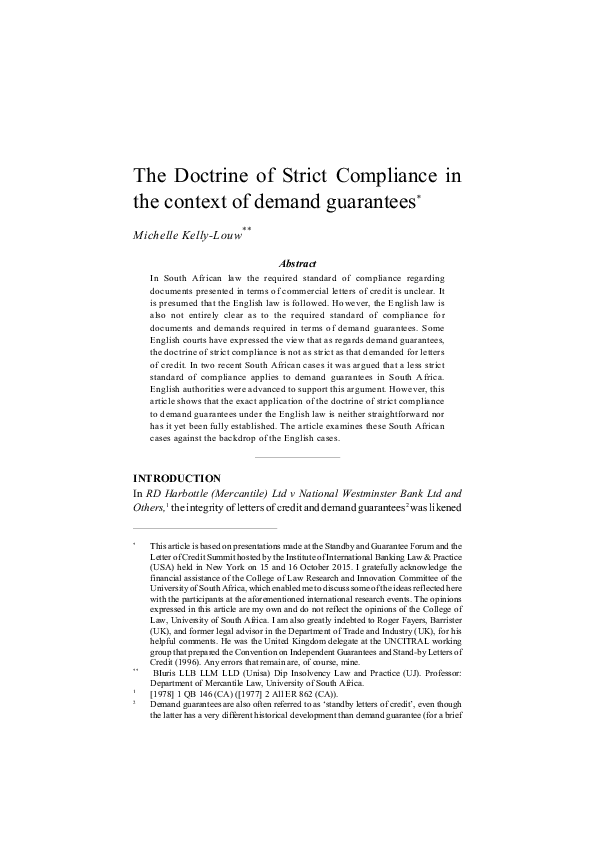 Pdf The Doctrine Of Strict Compliance In The Context Of Demand Guarantees Michelle Louw Academia Edu