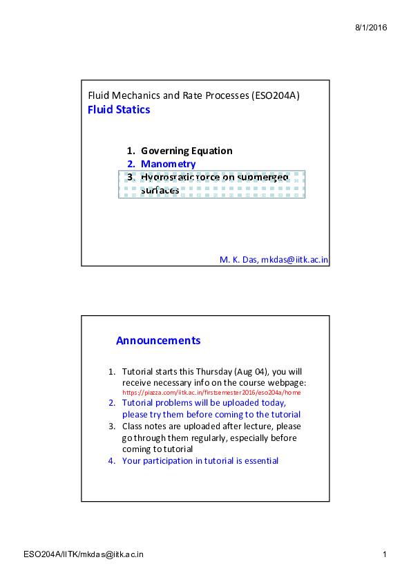 PDF) Fluid Mechanics and Rate Processes (ESO204A) Fluid Statics