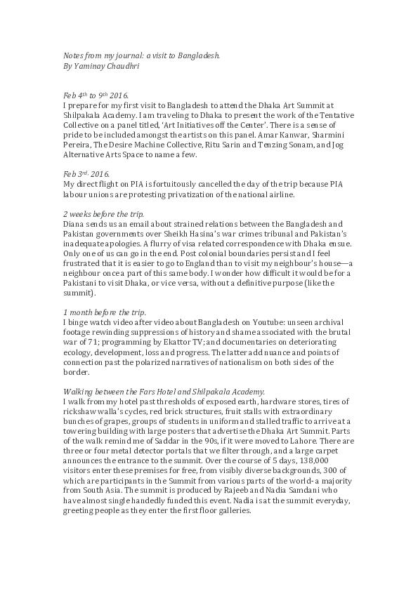 PDF) Notes from My Journal: A Visit to Bangladesh   yaminay