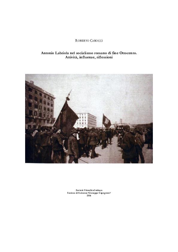 PDF) 2016 | Antonio Labriola nel socialismo romano di fine