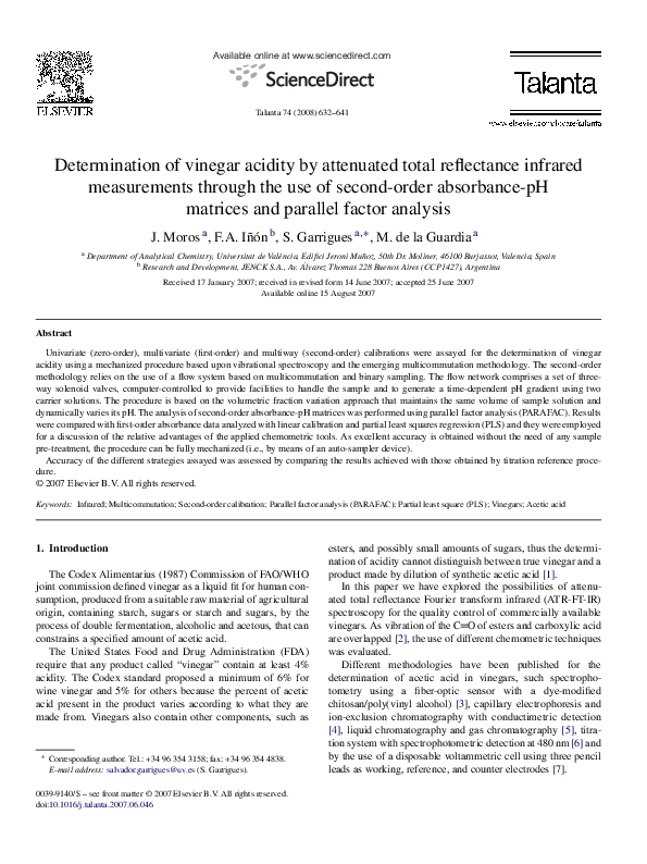 PDF) Determination of vinegar acidity by attenuated total