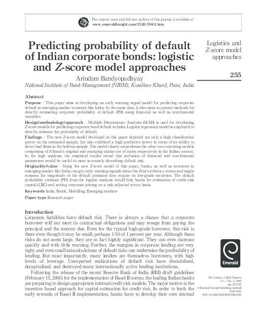 PDF) Predicting probability of default of Indian corporate