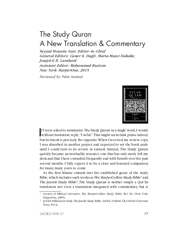 PDF) The Study Quran A New Translation & Commentary: Review