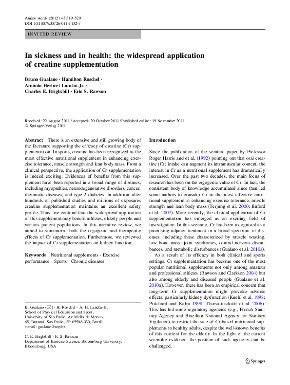 In sickness and in health  the widespread application of creatine ... 10b9b2e08fa