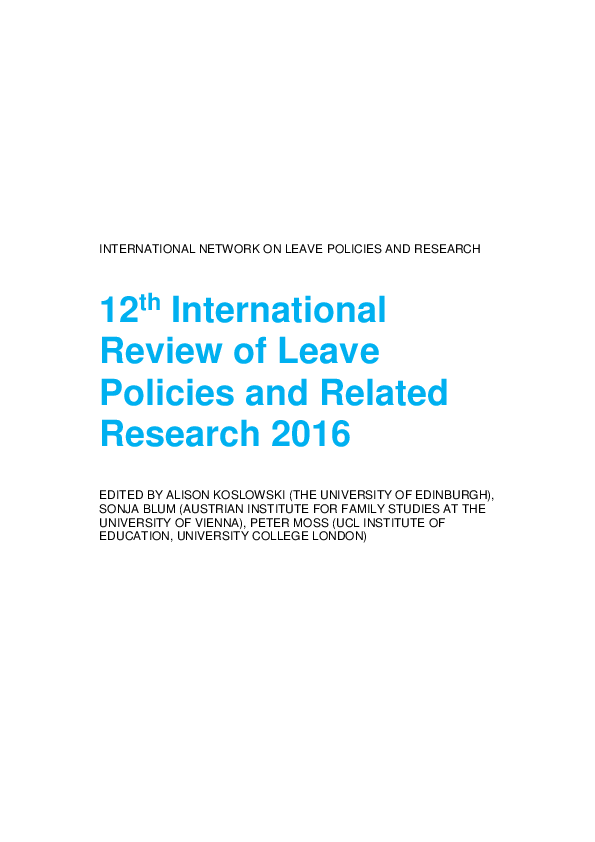 PDF) INTERNATIONAL NETWORK ON LEAVE POLICIES AND RESEARCH 12