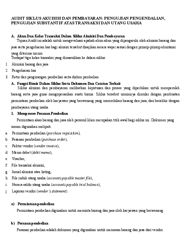 Doc Audit Siklus Akuisisi Dan Pembayaran Pengujian Pengendalian Pengujian Substantif Atas Transaksi Dan Utang Usaha Rio Awulle Academia Edu