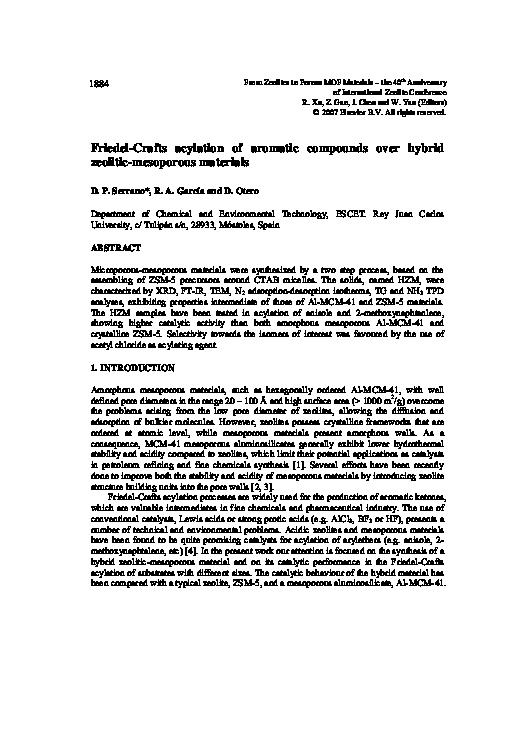 PDF) Friedel Crafts acylation of aromatic compounds over