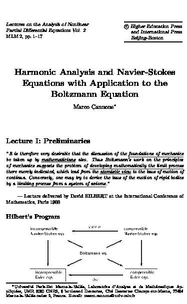 PDF) Harmonic analysis and Navier-Stokes equations with
