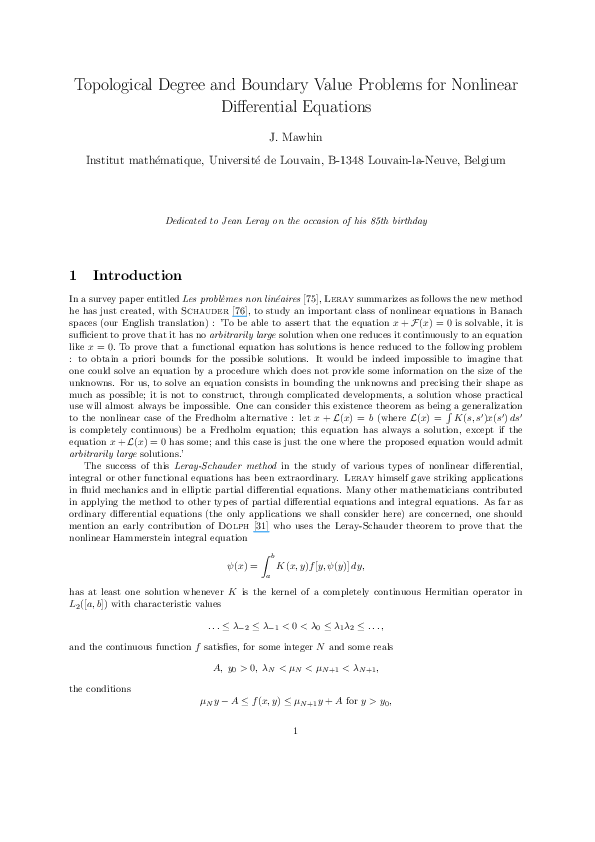 (PDF) Topological degree and boundary value problems for